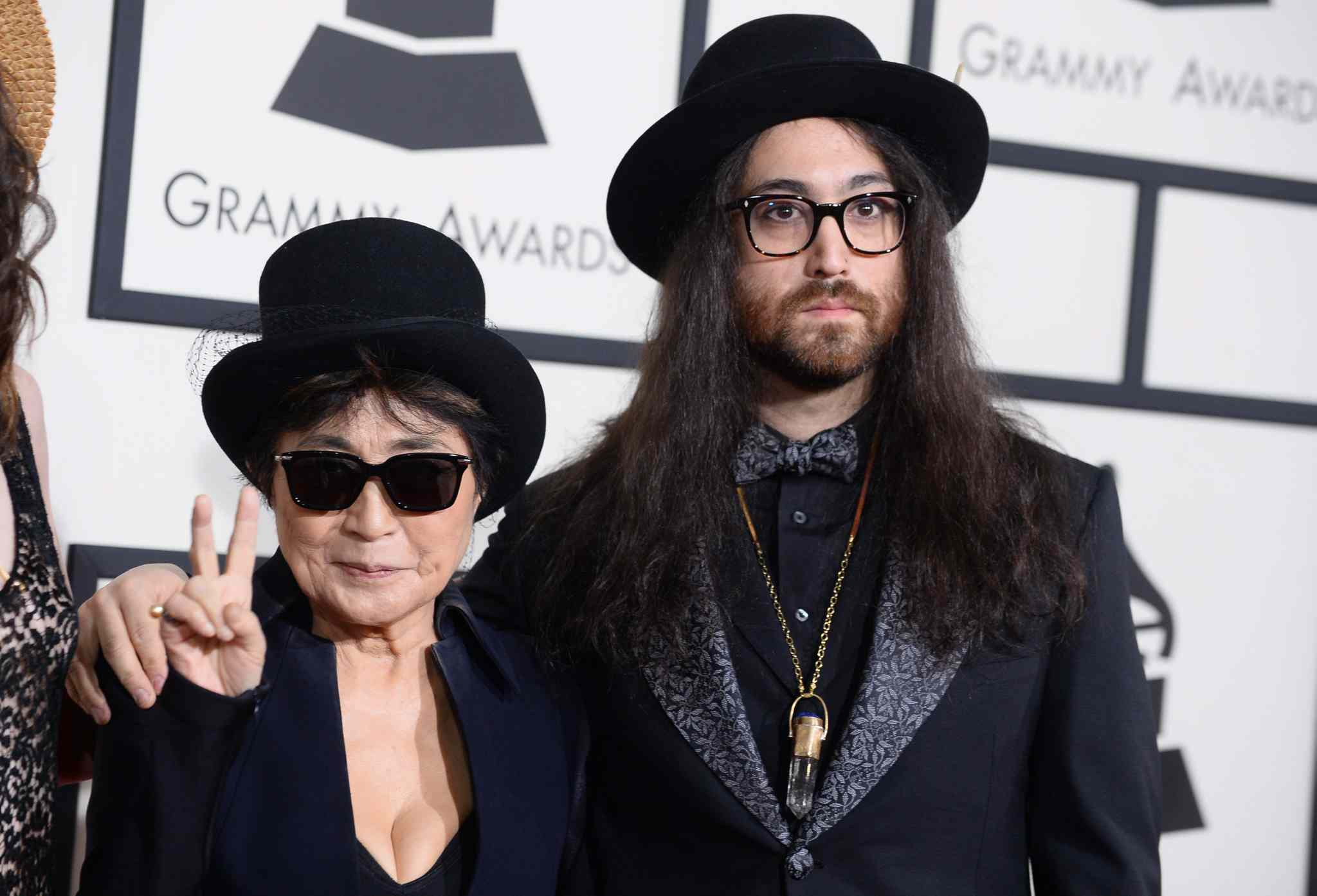 Yoko Ono, left, and Sean Lennon arrive at the 56th annual Grammy Awards.