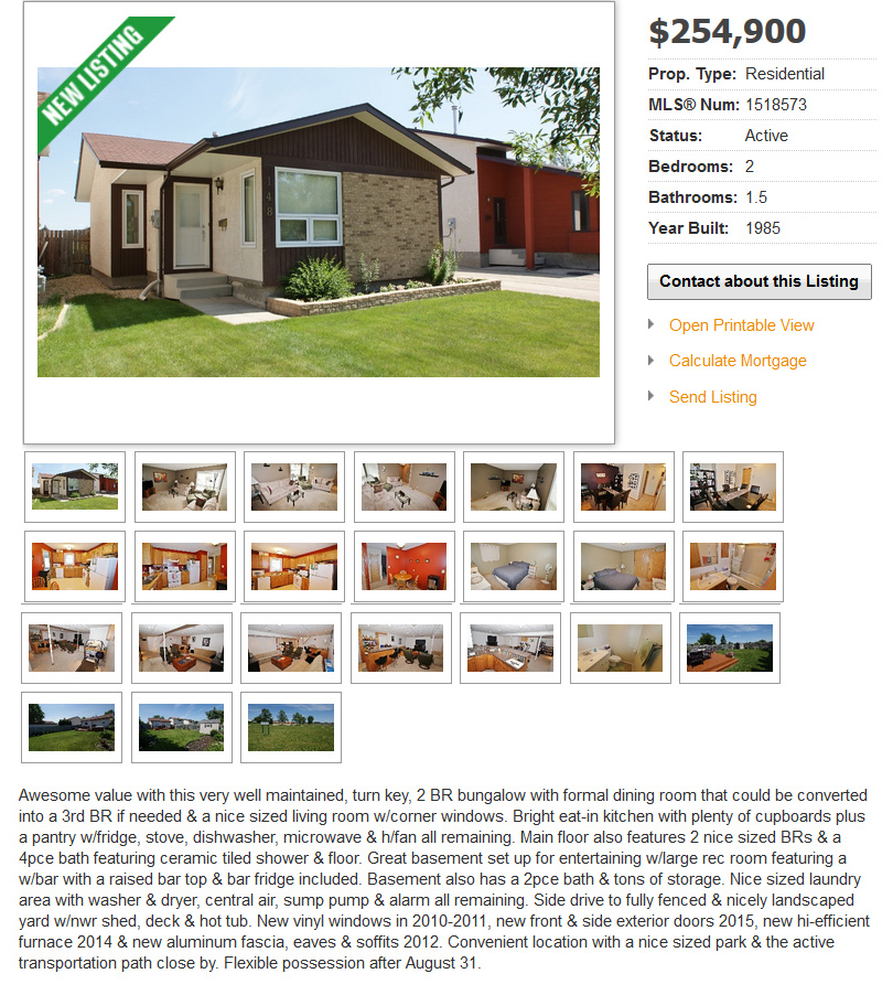 A screenshot of the online house listing.