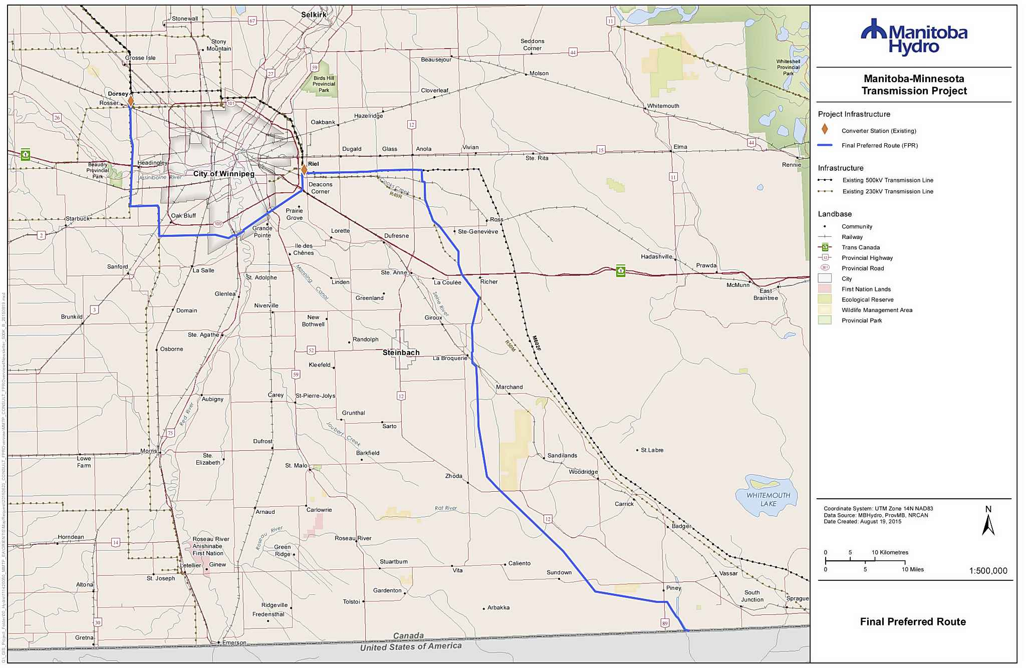 Manitoba–Minnesota Transmission Project Final Preferred Route map (Manitoba Hydro)