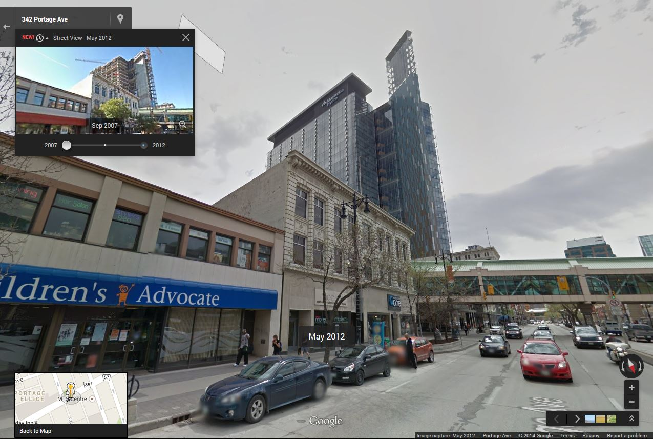 The building opened in September 2009. This image shows the streetscape in 2012.  See it on Google Maps: wfp.to/maphydro (Google)