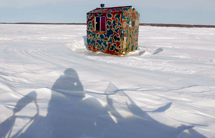 Balsam Bay on Lake Winnipeg. Shadow of the photographer in foreground.  (Boris Minkevich / Winnipeg Free Press)