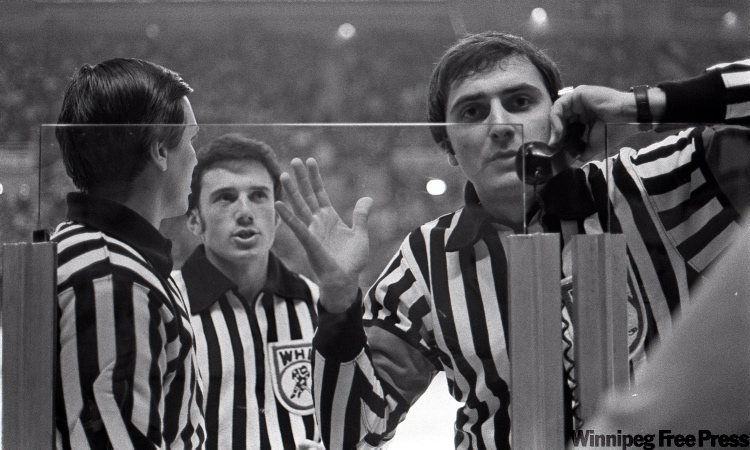 WHA referees in game against the Birmingham Bulls