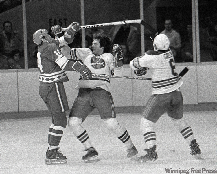 On Dec. 20, 1977, the Jets took on the Soviet Red Army in a hard-hitting game. Barry Long and Ted Green collide with a Russian player.