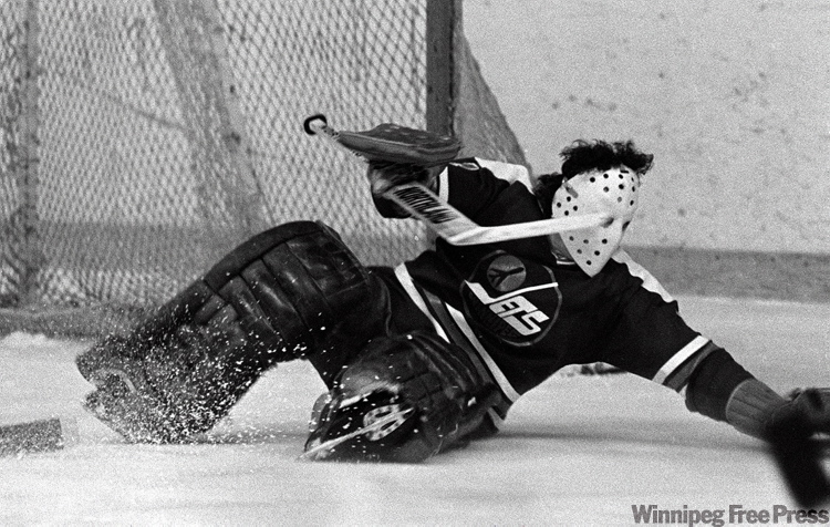 Jets goalie Joe Daley make save against Quebec in a Jan.18,1978 game.