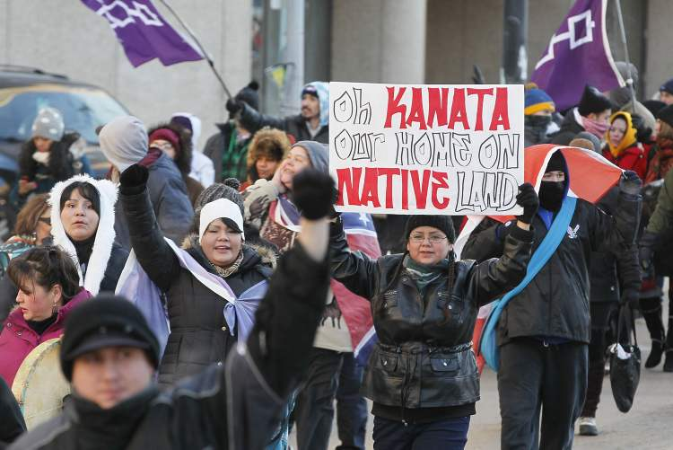 Idle No More protest drew from a wide variety of First Nations and non-First Nations people. (Winnipeg Free Press)