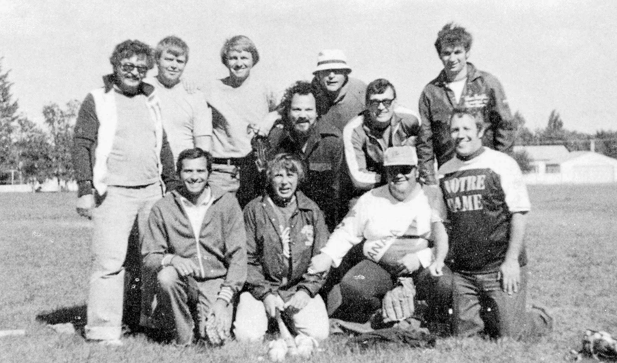 James (far right, back row) and Easton (far right, front row) played on a team from Silver Heights in 1977.
