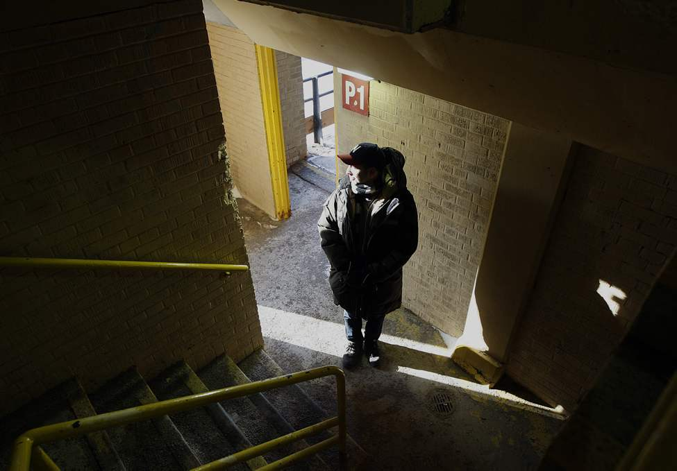John K. Samson poses for a portrait in a downtown parkade promoting his solo album titled Provincial. 