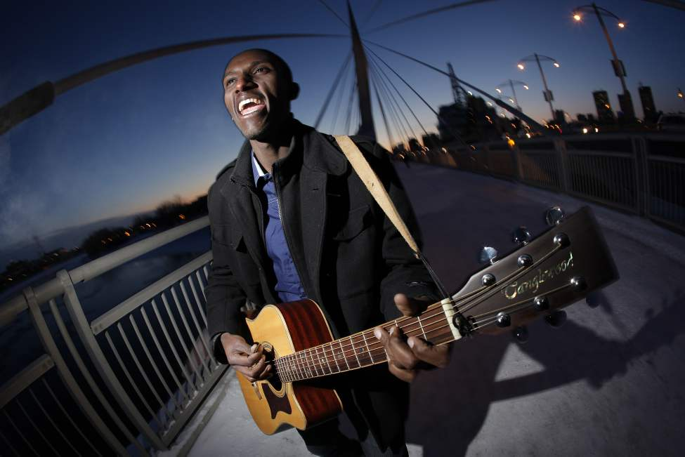 Gentil Misigaro, who immigrated from the Democratic Republic of Congo last year, performs on the Esplanade Riel Monday January 16, 2012.  His portrait was taken for the Free Press' Africa Edition.  (John Woods / Winnipeg Free Press)