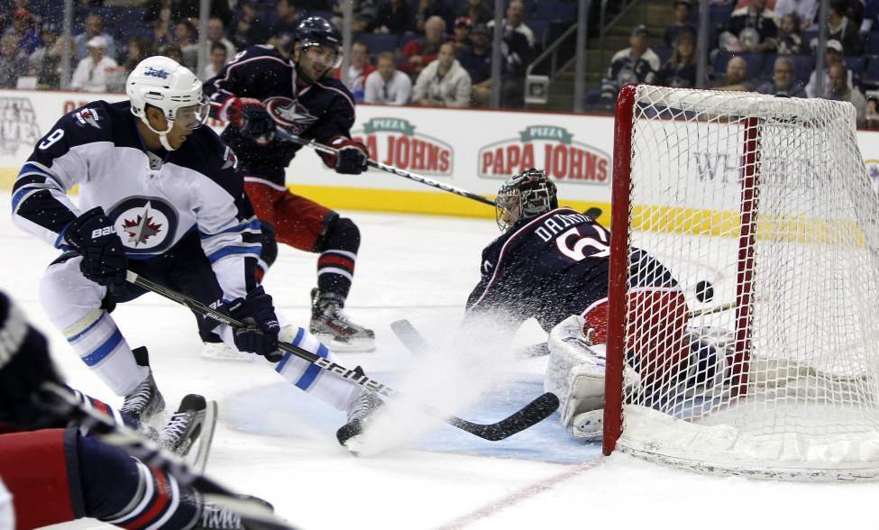 The Winnipeg Jets vs. Columbus Blue Jackets at Nationwide Arena in Columbus, Ohio. First goal in pre-season for the new Jets scored by Evander Kane (9). Sept. 20, 2011 (BORIS MINKEVICH / WINNIPEG FREE PRESS)