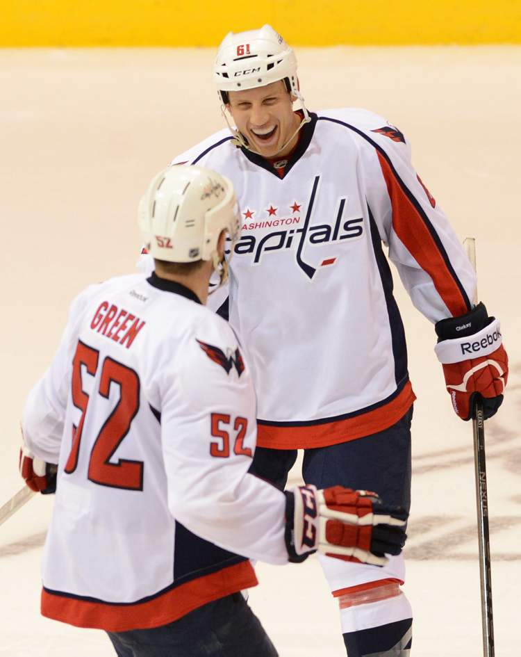 Washington Capitals' Mike Green (left) celebrates his game winning shoot-out goal against the Winnipeg Jets with Steven Oleksy in pre-season NHL hockey action in Belleville, Ont., on Saturday.