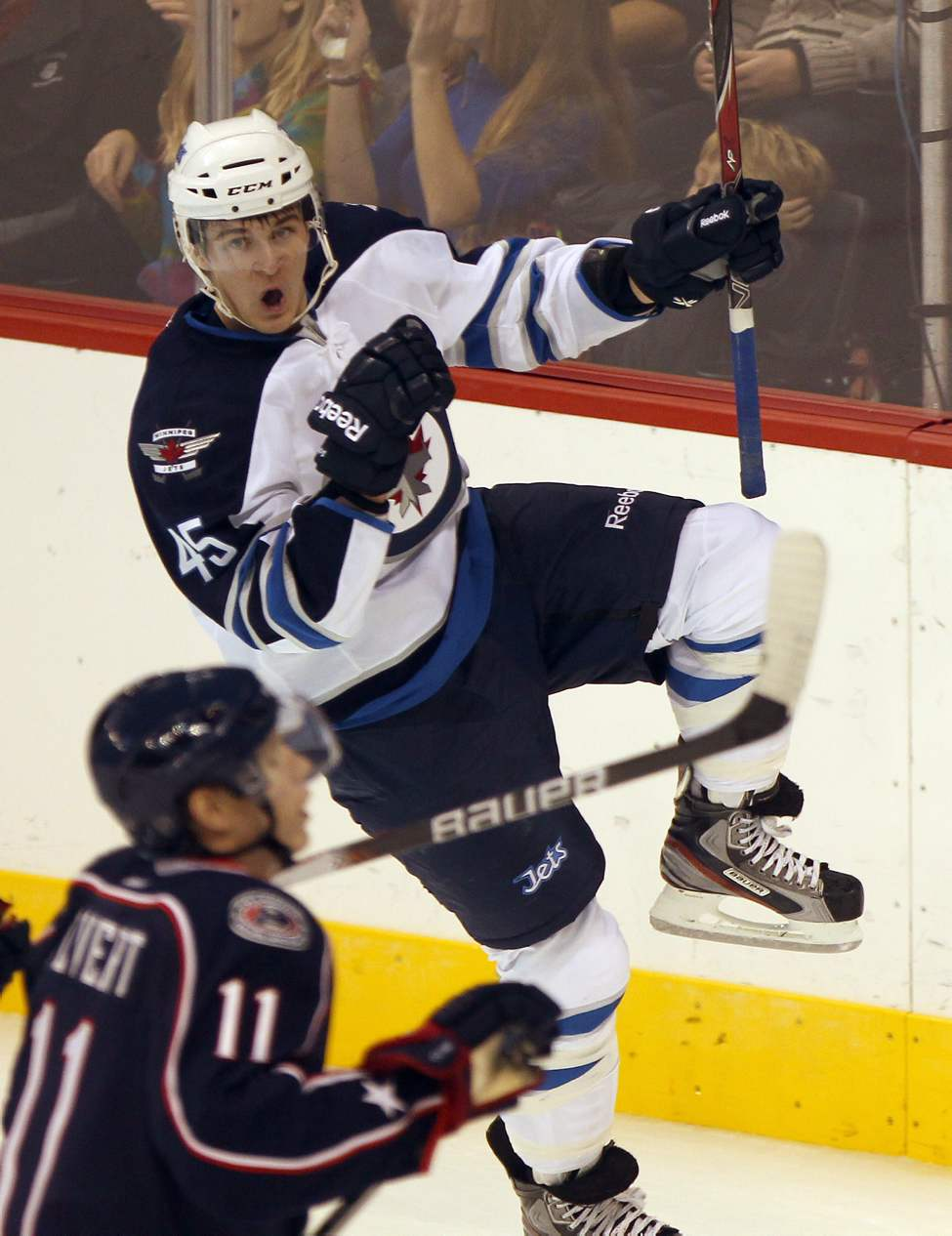 Winnipeg Jets Mark Scheifele celebrates his first period goal against the Columbus Blue Jackets during NHL preseason action Tuesday night in Winnipeg.  (JOE BRYKSA / WINNIPEG FREE PRESS)