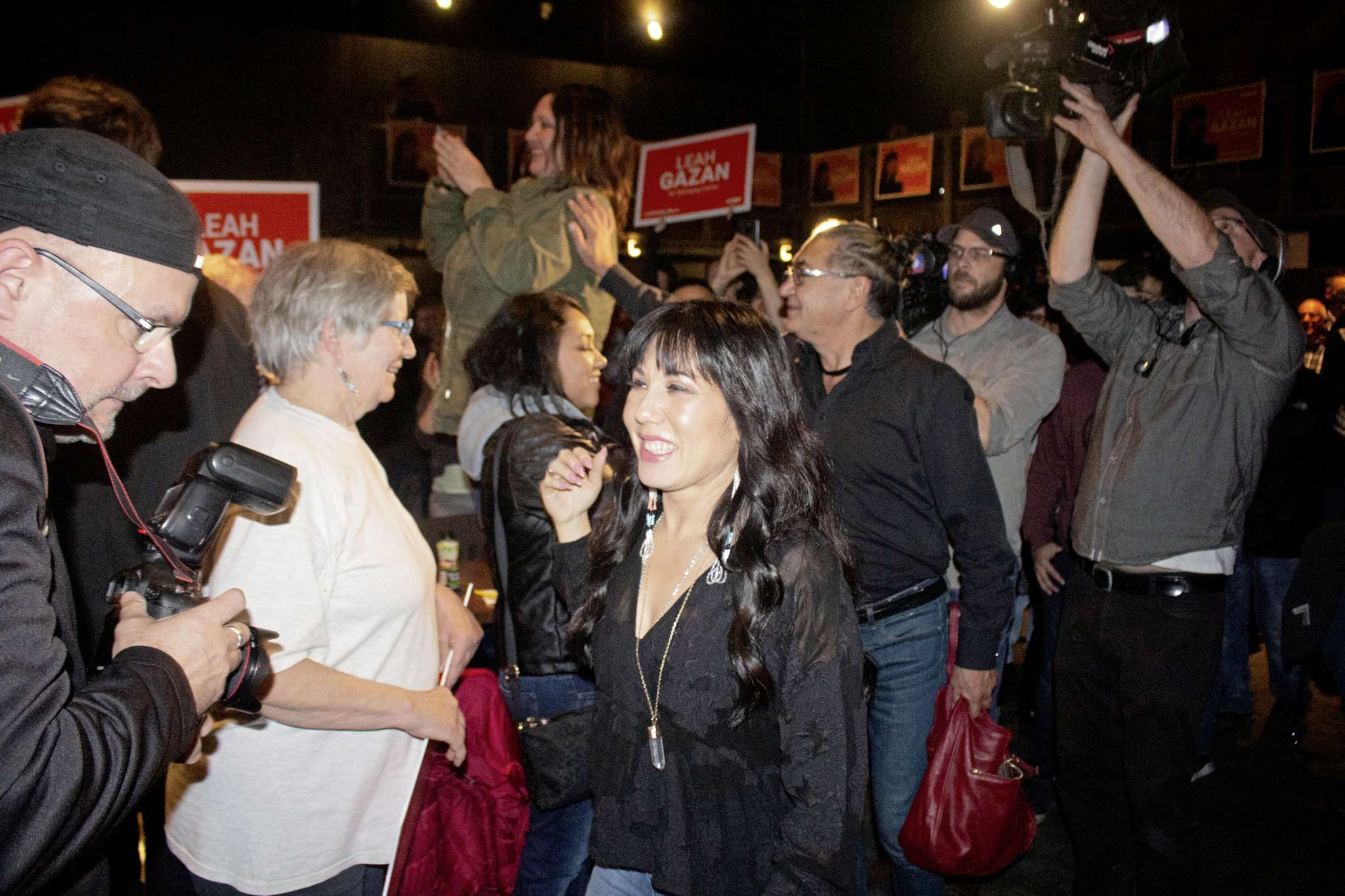 Leah Gazan, the MP-Elect for Winnipeg Centre, addressing the crowd after winning the riding. (JUSTIN LUSCHINSKI/CANSTAR COMMUNITY NEWS/METRO)