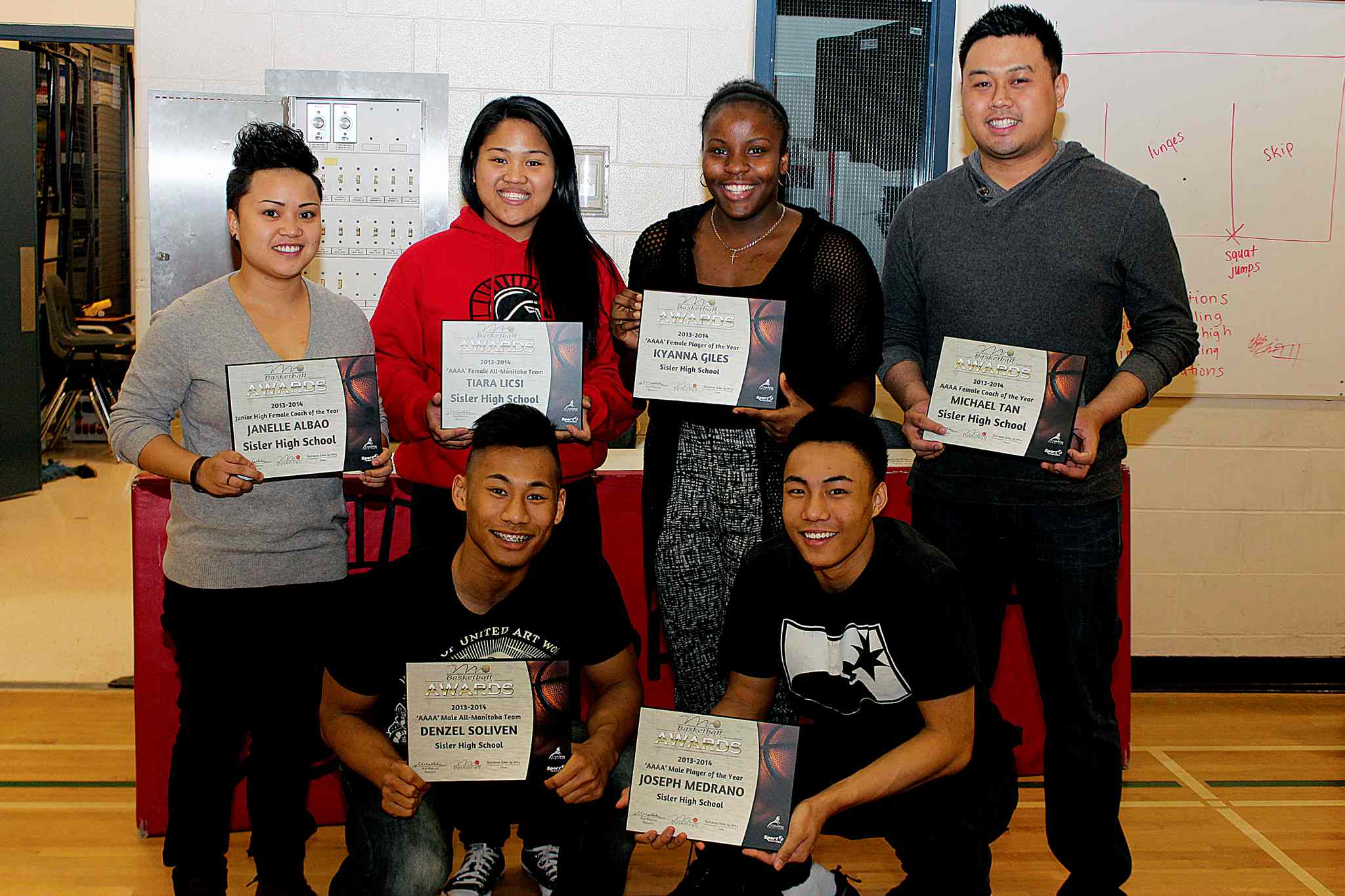 Sisler High School dominated the 2014 Basketball Manitoba Awards. (Top row, from left) Coach of the Year (junior high) Janelle Ablao, AAAA Female All-Manitoba Team selection Tiara Licsi, AAAA Female Player of the Year Kyanna Giles, AAAA coach of the year (for varsity girls basketball) Michael Tan. Bottom row, from left: AAAA Male All-Manitoba Team selection Denzel Soliven and AAAA Male Player of the Year Joseph Medrano.