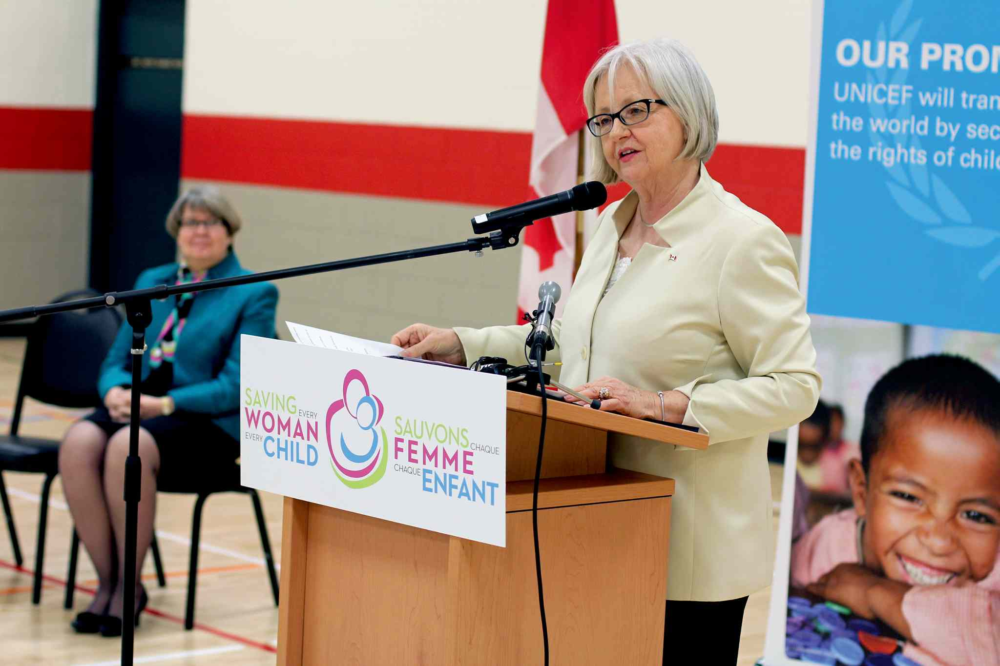 Joy Smith, MP for Kildonan-St. Paul, announced at Maple Leaf School that Canada will provide $7.5 million in funding to a UNICEF health education initiative in developing countries.