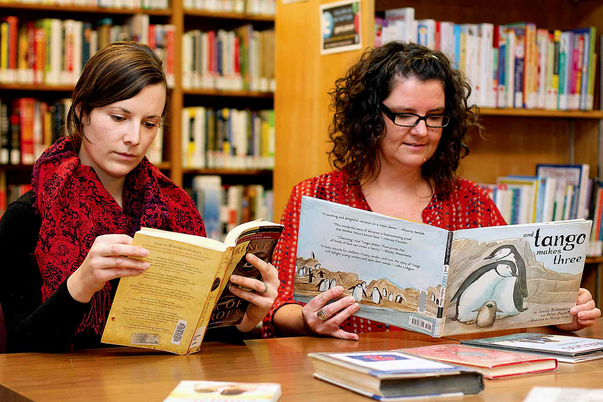 Kirsten Wurmann (right) and library assistant Britt Embry will be participating in the Freedom to Read Marathon on Feb. 28.