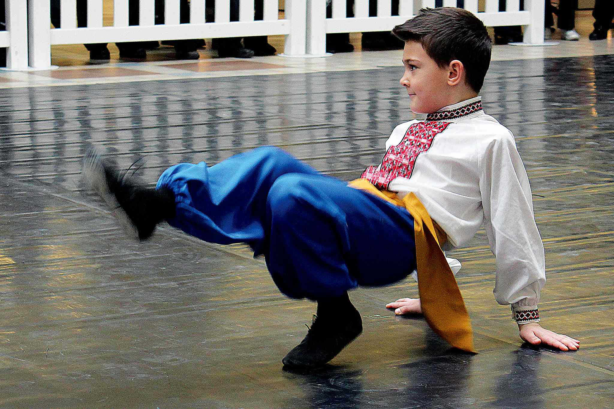 A young Ukrainian dancer performs at the Malanka celebration at Garden City Shopping Centre.