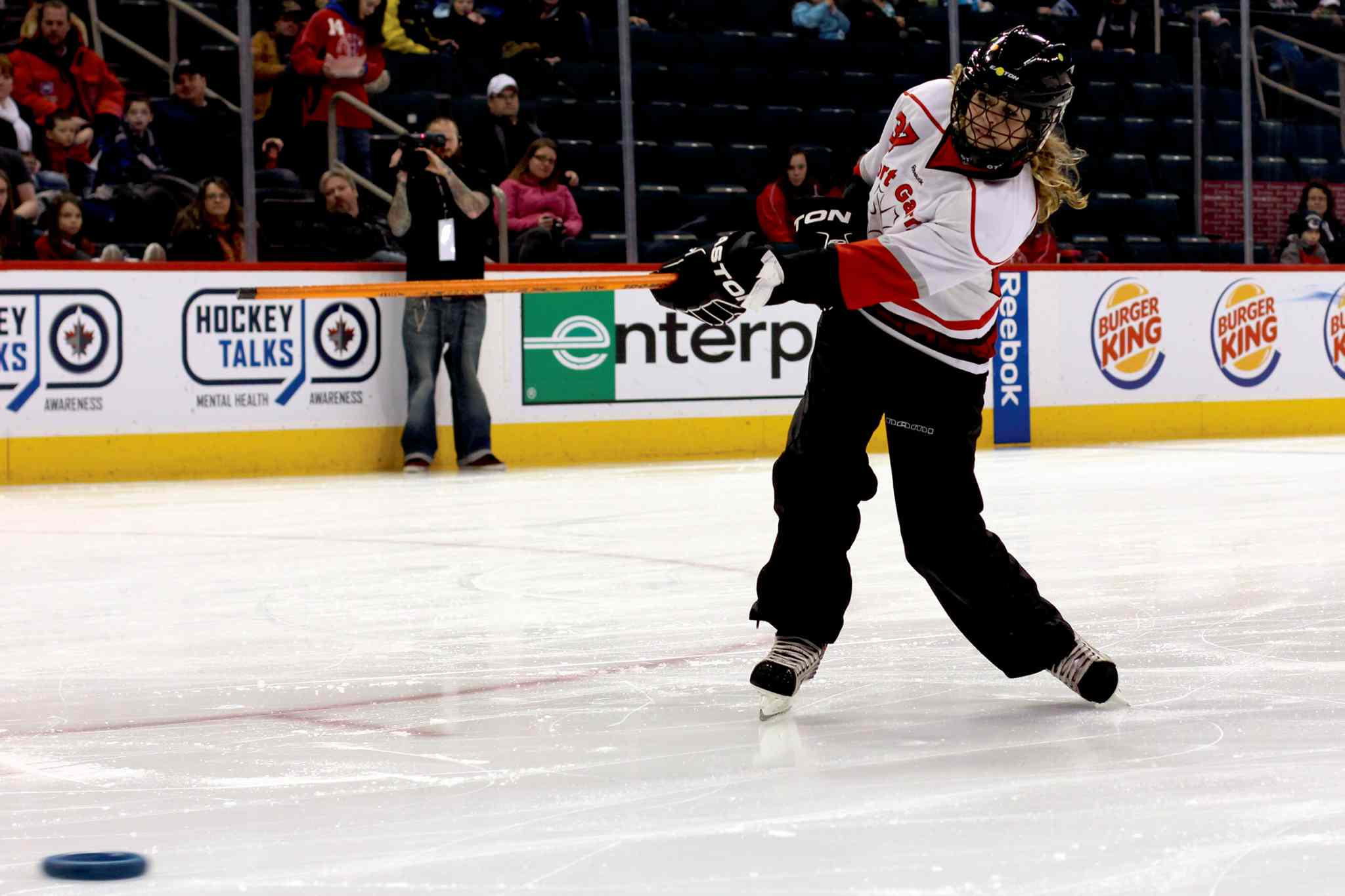 Shea Hlady of the Fort Garry Fierce takes part in the Hardest Shot Competition at the Winnipeg Ringette League's all-star game at the MTS Centre.