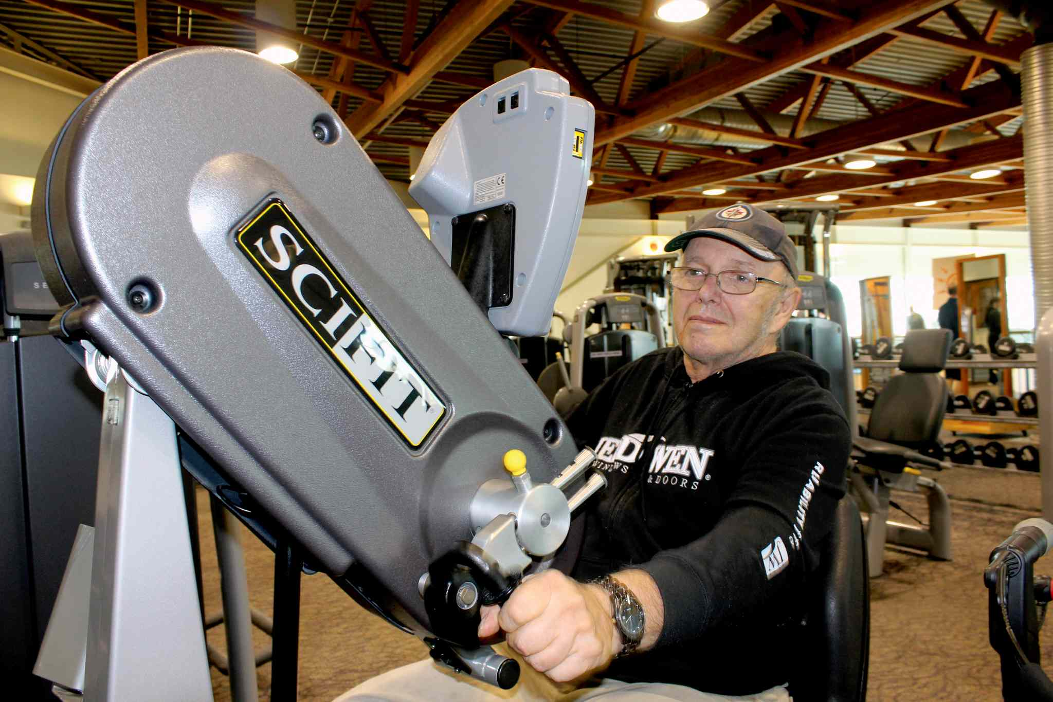 Jim Sutherland gets a workout in at the Wellness Institute medical fitness facility at Seven Oaks General Hospital. Sutherland has been a member of the facility since suffering a heart attack in December 2008.