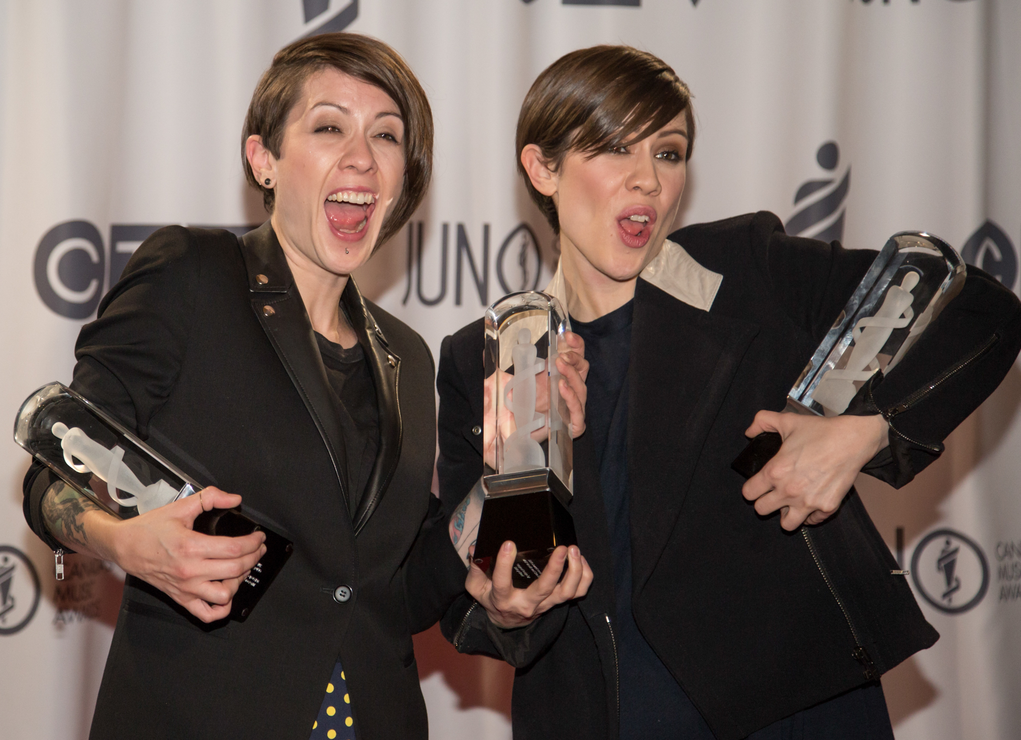 Tegan and Sara receive three 2014 JUNOs at the at the MTS Centre in Winnipeg on Sunday, March 30, 2014. They won for Single of the Year, Group of the Year and Pop Album of the Year.