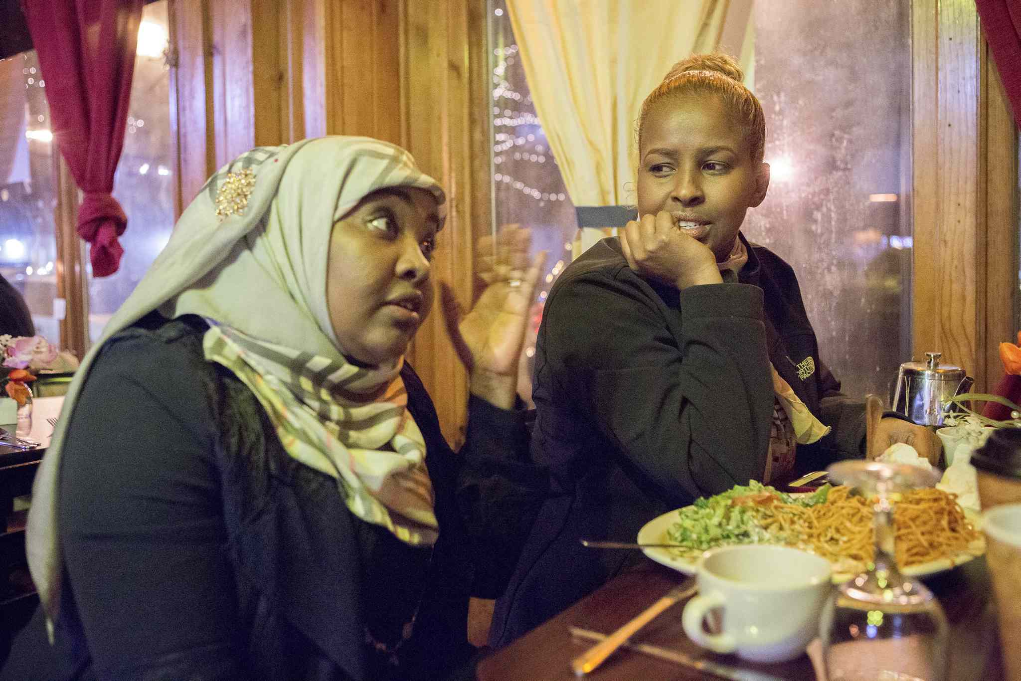 Saciido Shaie (left) and Farhio Kalif said a friend vanished two weeks ago but then called from Winnipeg.