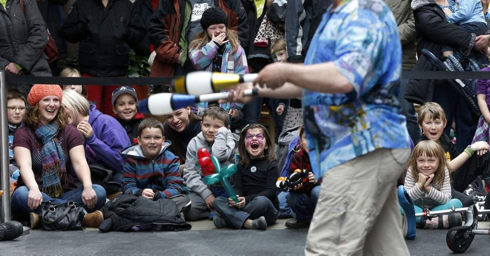 Kids of all ages enjoy juggler Mike Battie from North Vancouver as he performs at Manitoba Children's Festival's Festival of Fools. March 31,  2014  (KEN GIGLIOTTI / WINNIPEG FREE PRESS)