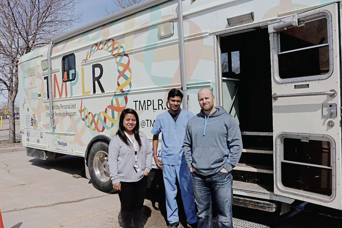 Pictured from left to right: Jeann Buenafe, clinical co-ordinator, Kamlesh Patel, phlebotomist, and Mark Pinder, research assistant, are part of the TMPLR team.