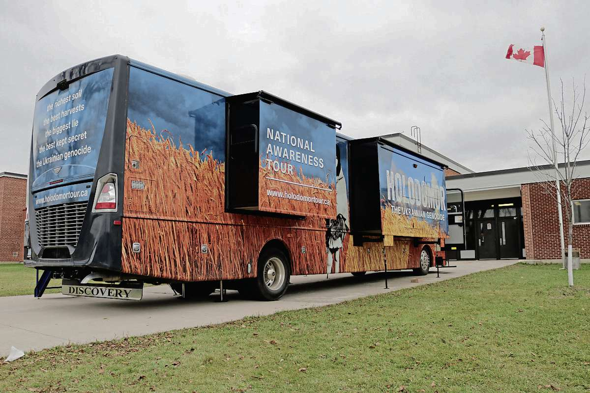 The Holodomor Mobile Classroom at Sisler High School on Oct. 18.