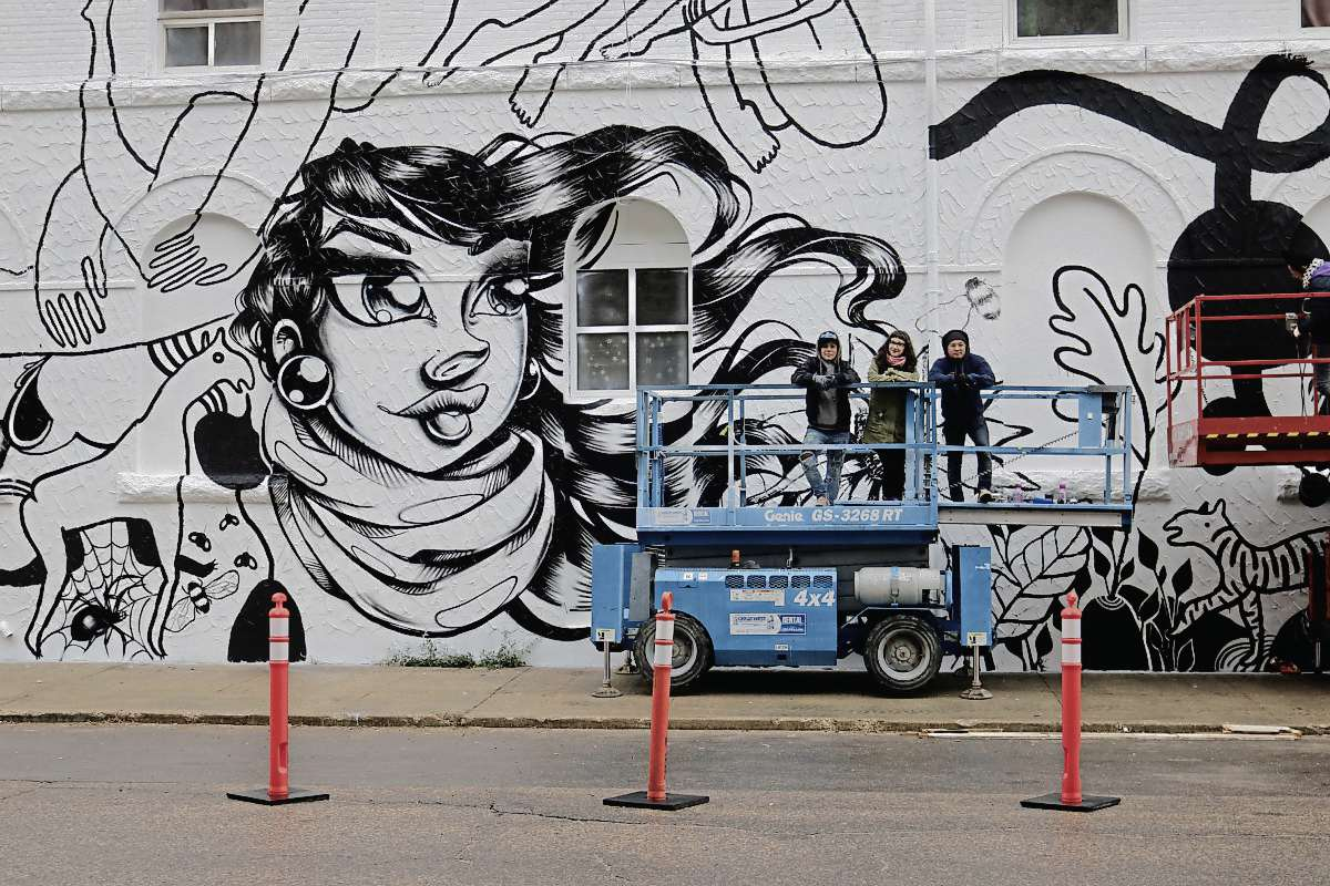 Montreal-based artist Marie-Clementine Baldassari and Winnipeg-based artists Matea Radic and Jay Cabredo are three of the creators working to revitalize the New West Hotel building on Main Street.