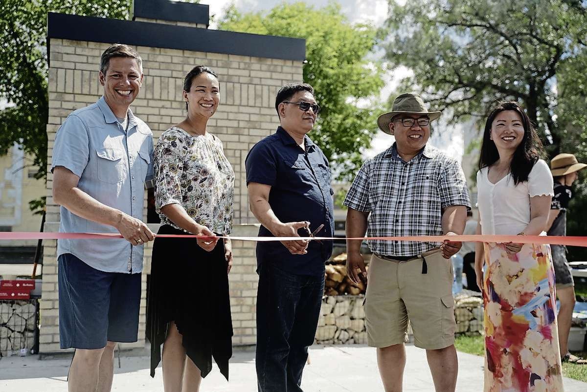 Pictured above Mayor Brian Bowman, Point Douglas Coun. Vivian Santos, Gord Dong, Mike Pagtakhan and Winnipeg School Division's trustee Jennifer Chen at the grand opening of Gord Dong Park on July 27.