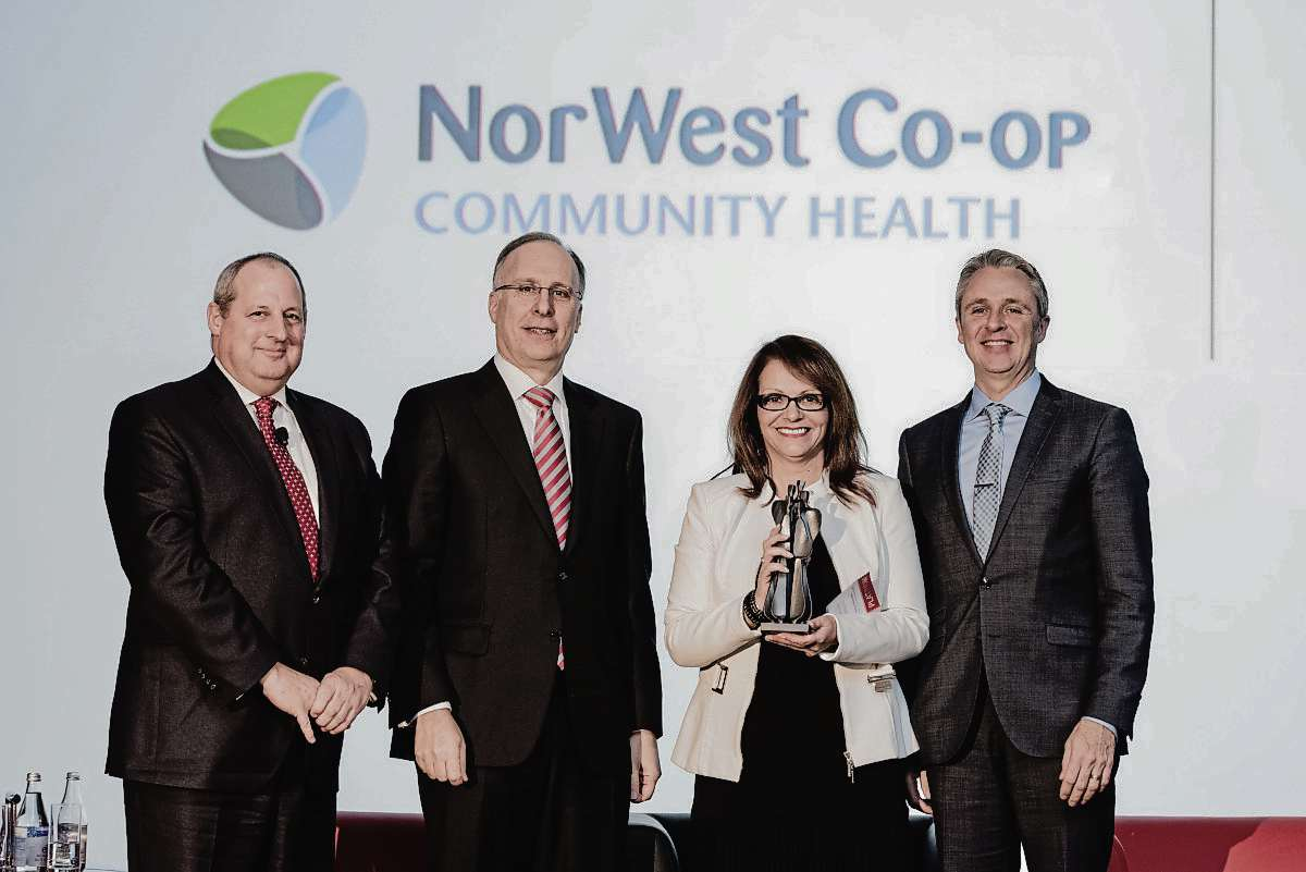 NorWest Co-op executive director Nancy Heinrichs (third, from left) is pictured at the Aon Best Employers gala in 2016.