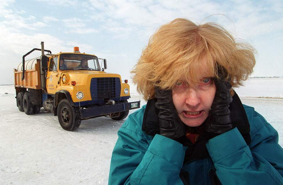 Lindor describes her hair-raising experience after driving a tandem spreader truck on an ice course at St. Andrew's Airport in February 2000. (Marc Gallant / Winnipeg Free Press)