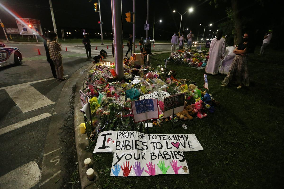 A memorial for the Salman family in London, Ont., on Tuesday night.