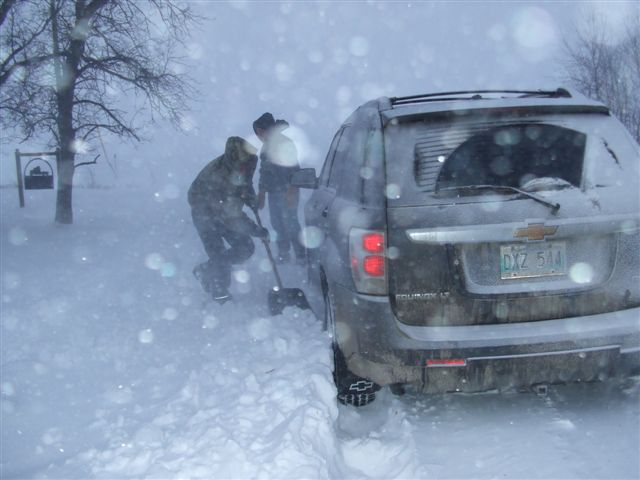 Digging out in Hazelridge, MB.
