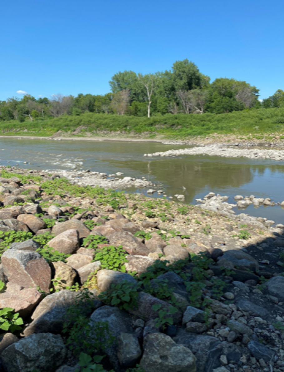 The Red River, seen here where it crosses Hwy 201, is unusually low this year and puts communities that depend on it at risk. (Supplied)