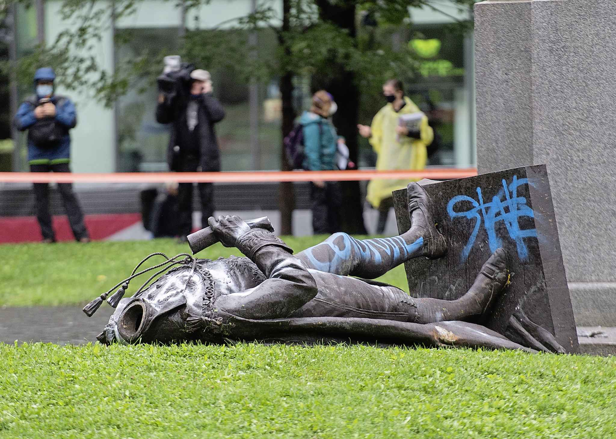 A statue of Sir John A. MacDonald was torn down following a demonstration in Montreal in August 2020, protesters called to defund the police with a goal to end all systemic racism within all sectors of the Canadian government. (Graham Hughes / The Canadian Press files)