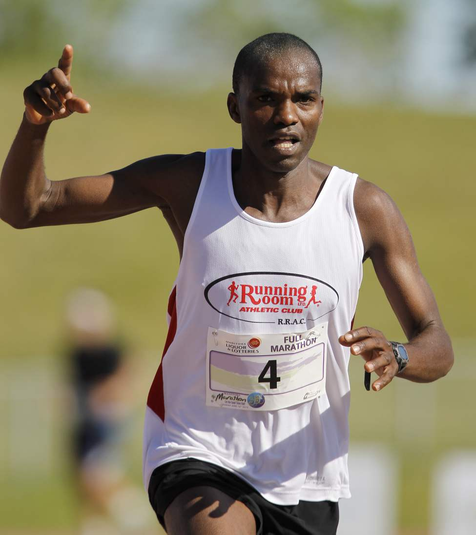 Evans Maiko, from Kenya, wins the full marathon at 2:28:18.  (TREVOR HAGAN/WINNIPEG FREE PRESS)
