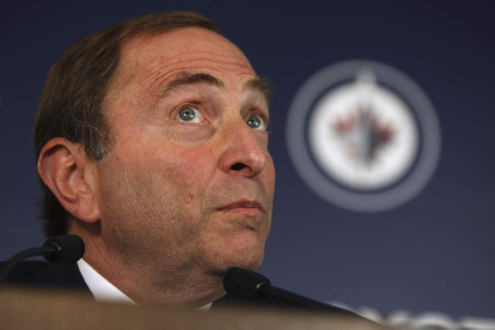 NHL Commissioner Gary Bettman address the media before the regular season home opener for the Winnipeg Jets versus Montreal Canadiens game Sunday.  