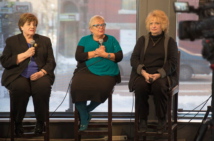 Mothers who lost their daughters to violent crime discuss their advocacy for victims at the Winnipeg Free Press News Café. From left Priscilla de Villiers, Lesley Parrott and Wilma Derksen.