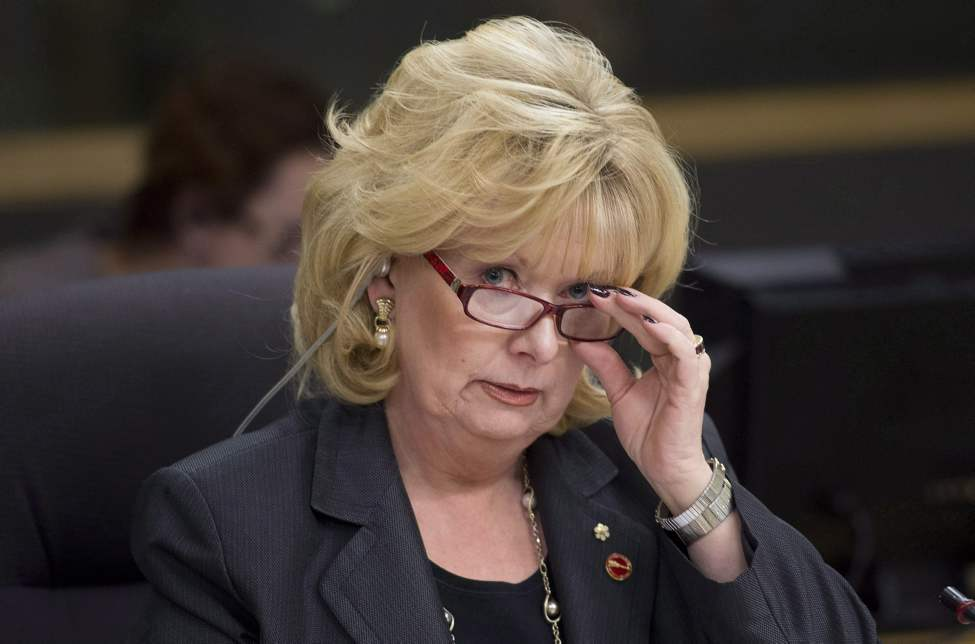 Senator Pamela Wallin, chair of the National Security and Defence committee, adjusts her glasses at the start of a meeting, Monday February 11, 2013 in Ottawa. The prime minister is defending yet another senator who has come under scrutiny for her expense claims.Stephen Harper says he's reviewed Conservative Sen. Wallin's travel bills and they appear to be in line. THE CANADIAN PRESS/Adrian Wyld (CP)