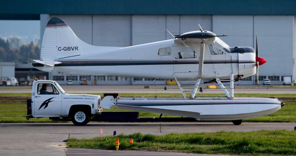 A truck is used to move a float plane at Vancouver International Airport in Richmond, B.C., on Friday May 3, 2013. THE CANADIAN PRESS/Darryl Dyck (CP)