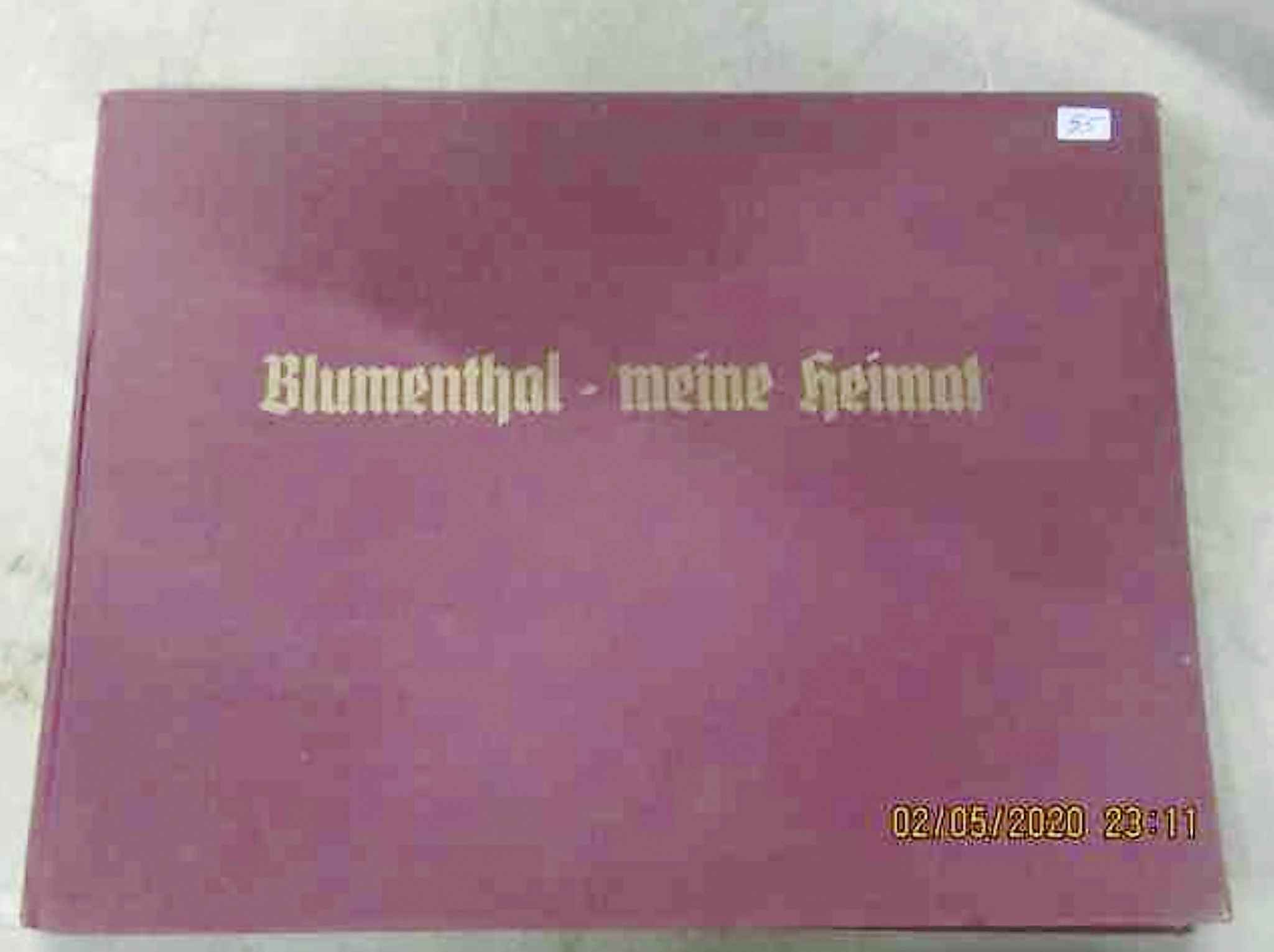 Nazi book Blumenthal Meine Helmat (To Perpetuate The Racial Purity) in German.  Books like this idealized the perfect Aryan town. (McSherry Auction Service)