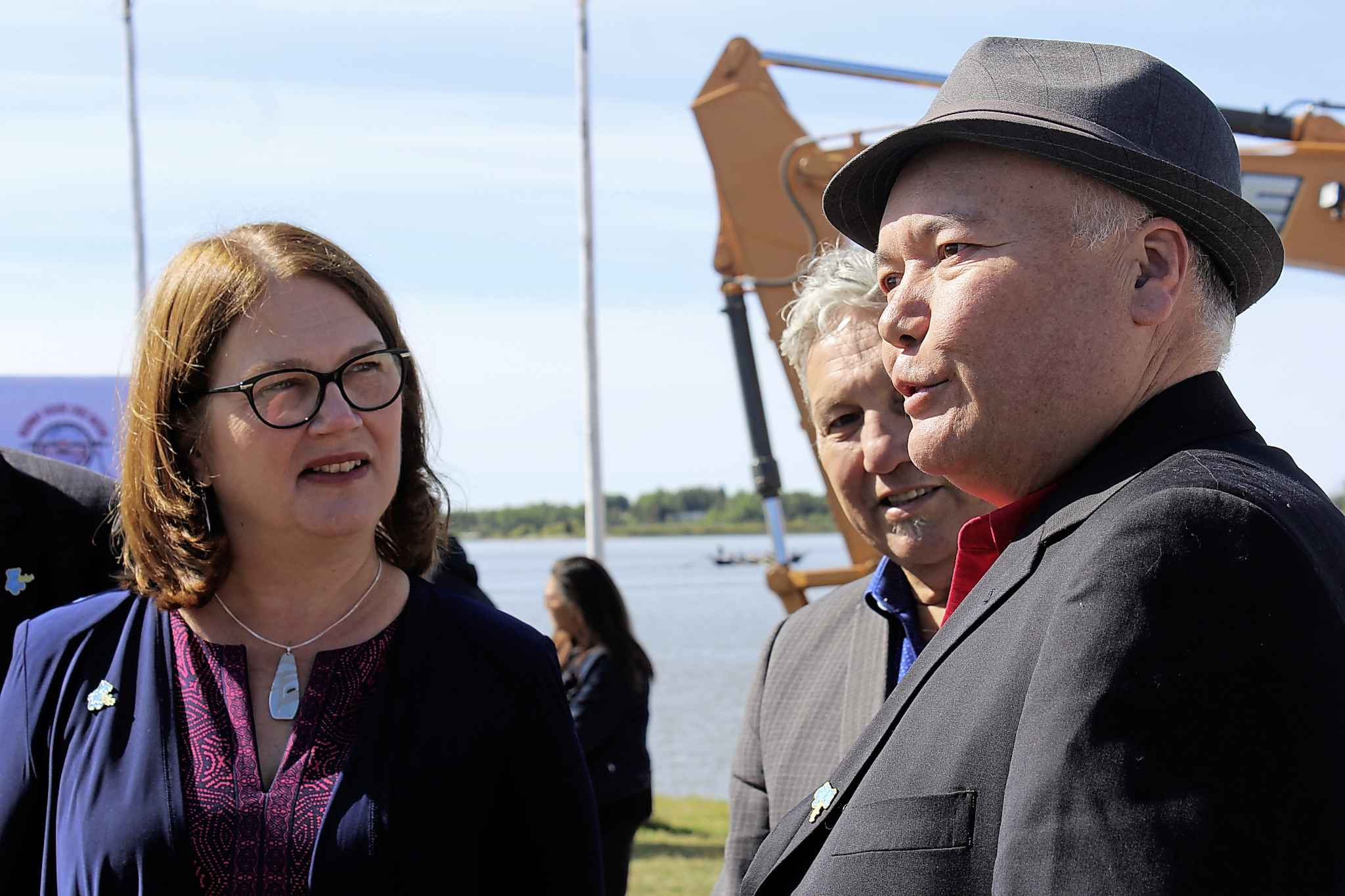 Minister of Indigenous Services Jane Philpott and Norway House Cree Nation Chief Larson Anderson speak after the funding announcment.