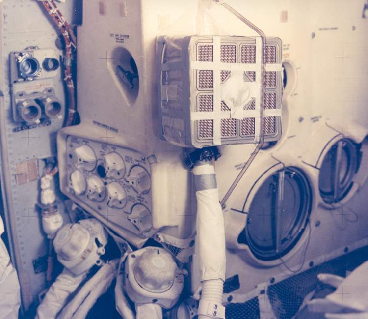 "NASA launched the 13th Apollo moon mission at 13:13 hours central time. On The Apollo 13 was launched on April the 13th at 13:13 local time on Pad 39 (3 times 13). Coincidence you say? Pictured is the interior of the lunar module, with the ""Mailbox"" a jerry-rigged oxygen filter system put together using duct tape and a part from one of the abandoned modules. An explosion in another module thwarted the mission's intended lunar landing and inspired the second-most-famous phrase in the history of space exploration: ""Houston, we have a problem.""  Image courtesy of NASA (U.S. Civilian)"