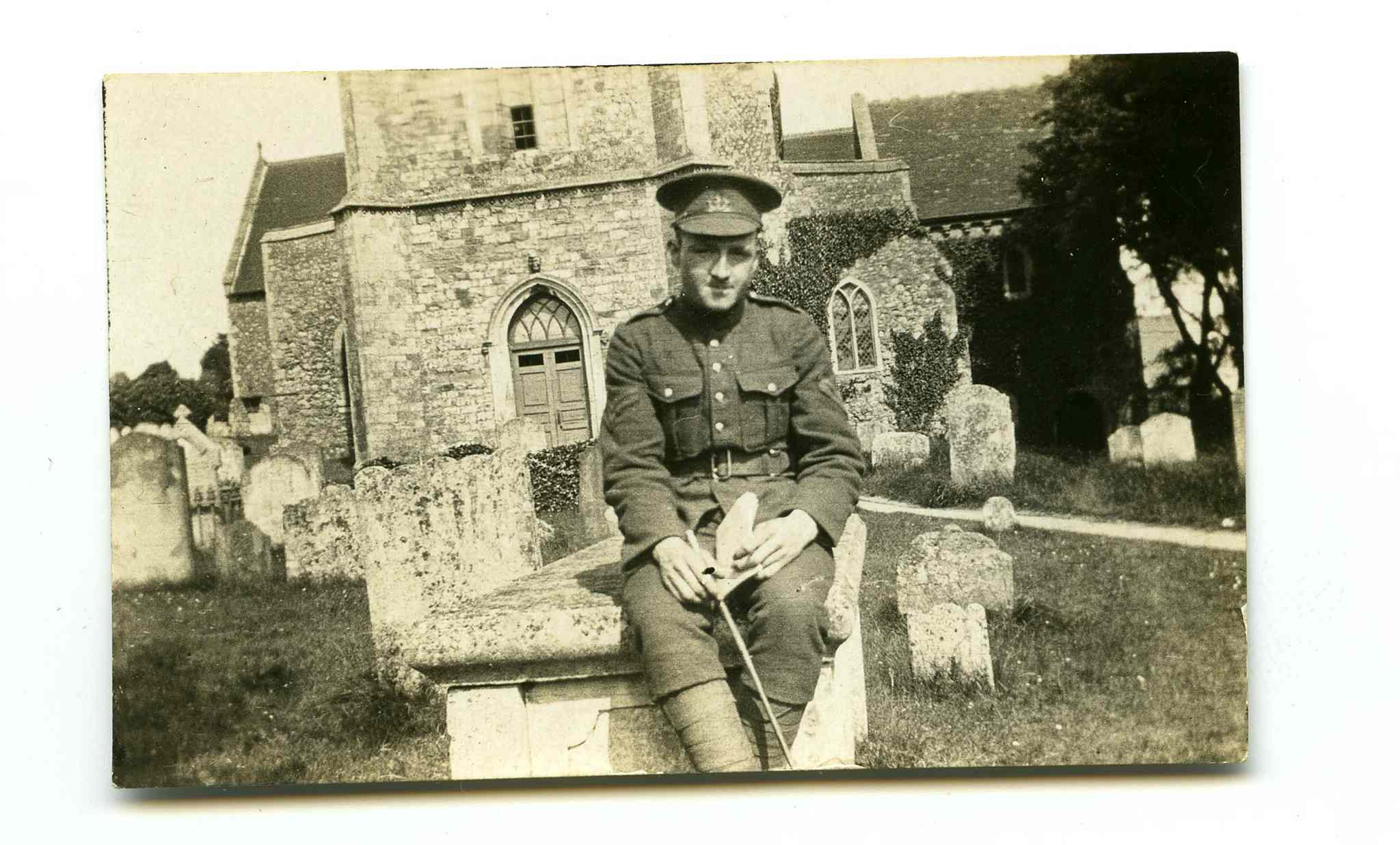 Stanley Bowen outside a church in England before he headed to the Western Front.