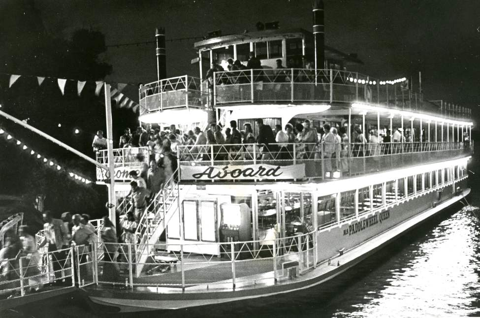 Paddlewheel Queen night cruise - July 27, 1976. 