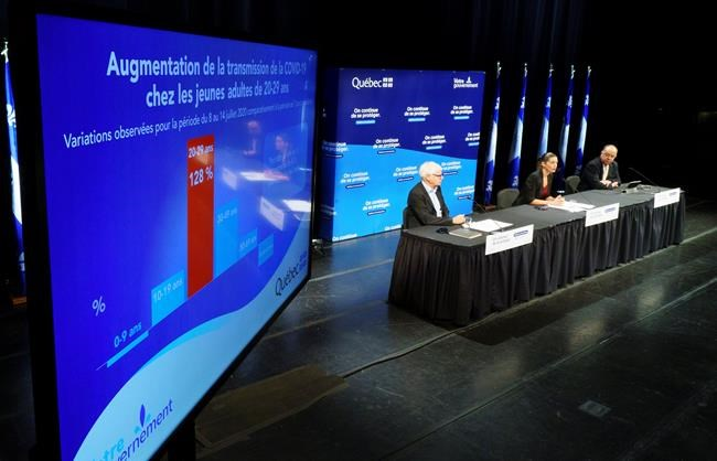 Quebec Deputy Premier Genevieve Guilbault, Health Minister Christian Dube, right and Dr. Richard Masse, left, provide an update on the COVID-19 situation in Quebec during a new conference in Montreal, on Monday, July 27, 2020. THE CANADIAN PRESS/Paul Chiasson