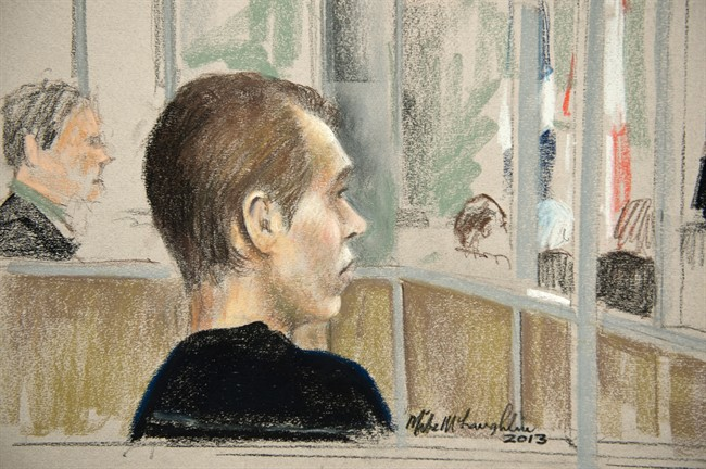 Alleged killer Luka Rocco Magnotta is seen in court on a artist drawing Wednesday, January 9, 2013 in Montreal. Magnotta is charged with first-degree murder in the slaying and dismemberment of Chinese engineering student Jun Lin. THE CANADIAN PRESS/Mike McLaughlin