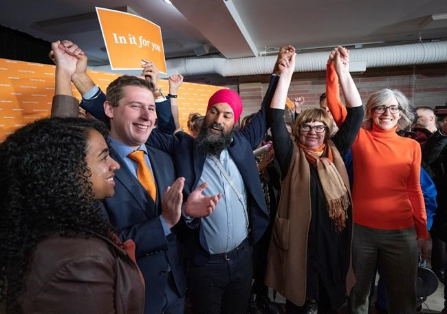 NDP Leader Jagmeet Singh rallies with local candidates in Saskatoon on Friday, October 4, 2019. THE CANADIAN PRESS/Paul Chiasson