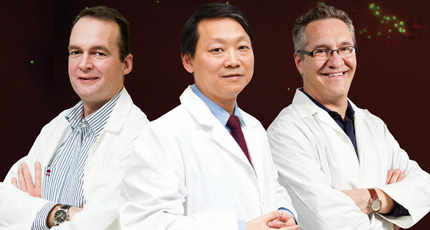 Drs. Richard Keijzer, Malcolm Xing and Andrew Halayko of the Biology of Breathing Group.