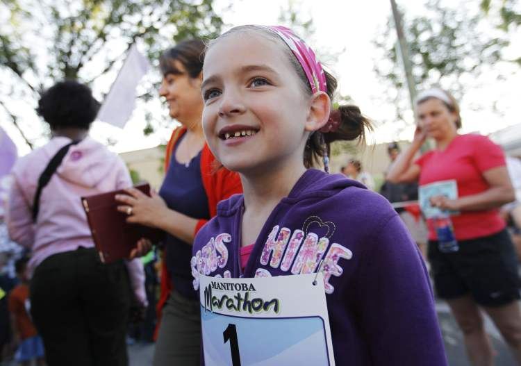 Mini-mite racer Lauren Morphy, 6, one of the frontrunners in the youngsters' race, gets ready to go this morning at the Manitoba Marathon..